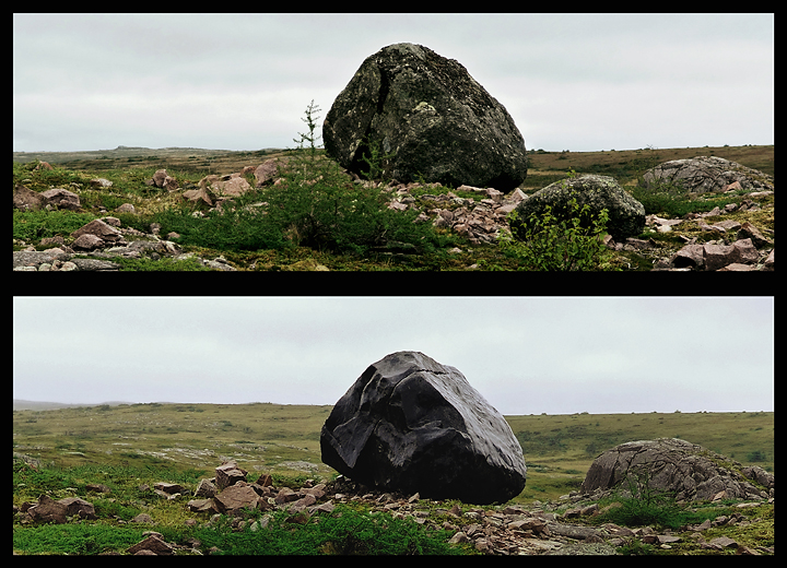 « Roche noire / Black rock », 2006, pierre de granite, en collaboration avec le Sir Wilfred Grenfell collège de Terre-Neuve, région de Burgeo